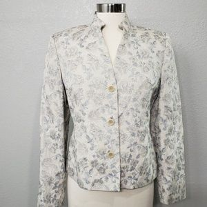 Kate Hill Classic Floral Blazer Textured